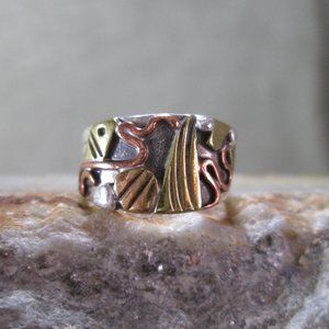 Mixed Metals Modernist Ring, Wearable Art Size 7.5